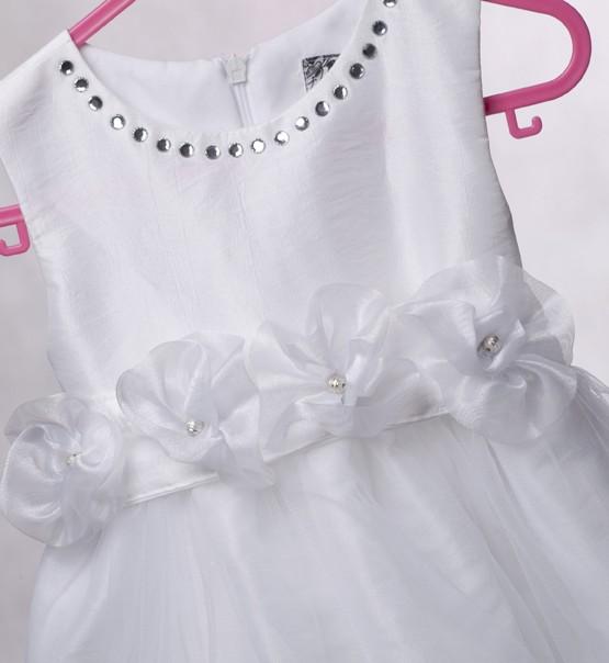 Рокля за кръщене бяла тафта с колан на розички