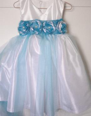 Детска шаферска рокля с тюркоаз