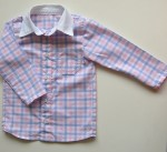 Детска карирана риза в розово и синьо с бяла якичка