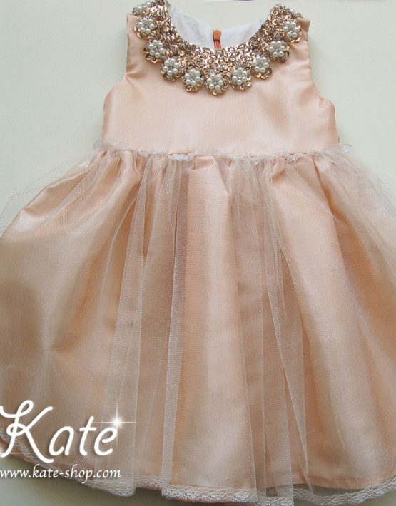 Детска официална рокля със златна яка