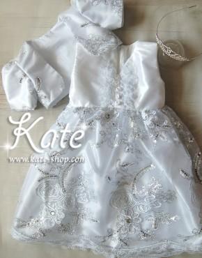 Комплект за кръщене със сребърна рокля и диадема