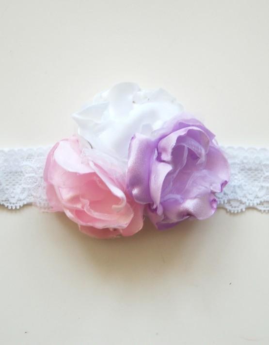 Лента в бяло розово и лила
