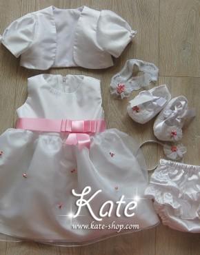 Бебешки комплект за кръщене в розово