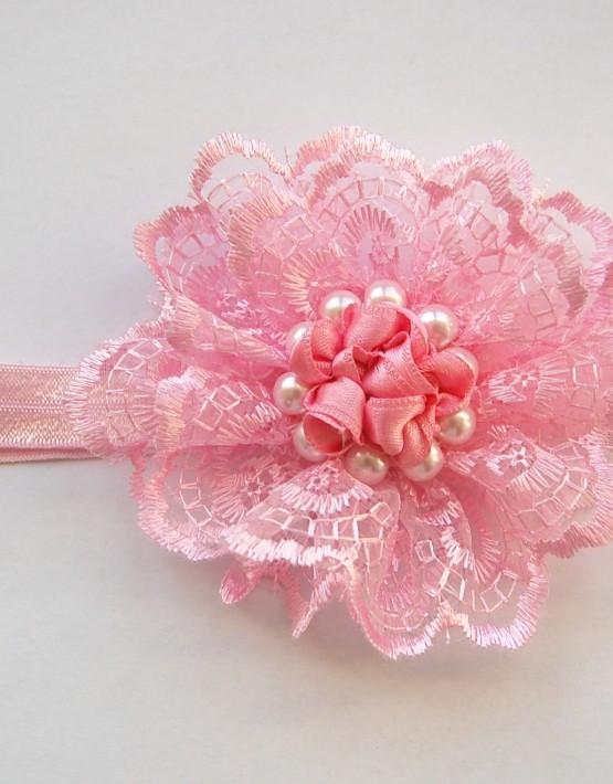 Лента за глава с дантела и перли-розово