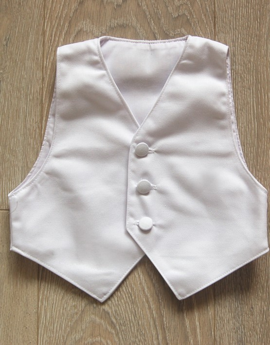 Бял памучен елек