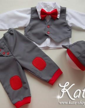 Бебешко комплекче в сиво и червено
