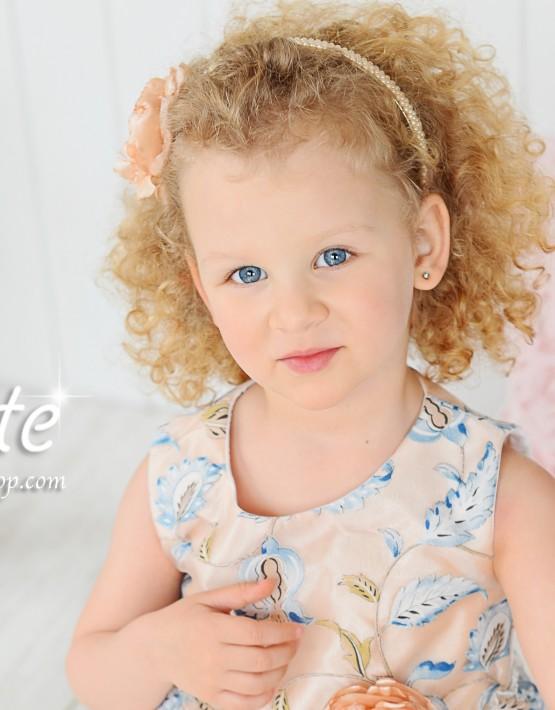 Детска официална рокля светло синьо и праскова