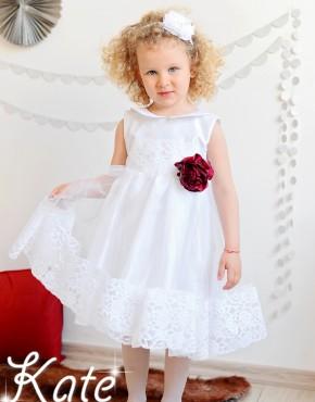 Бяла рокля за кръщене с кант