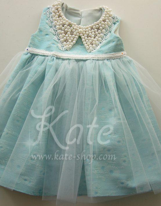Ментова рокличка с перлена якичка