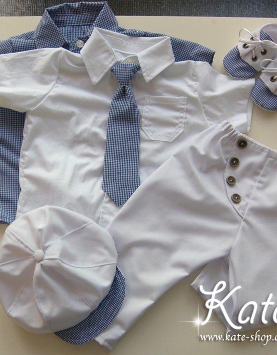 Комплект за момче бяло и син пепит