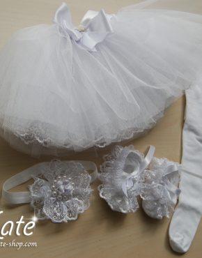 Комплект за бебе туту в бяло