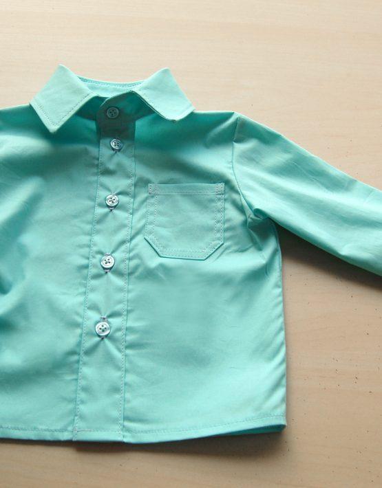 Момчешка риза цвят аквамаин