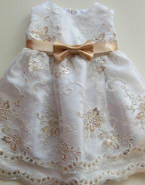 Детска рокля за кръщене в бяло и златно