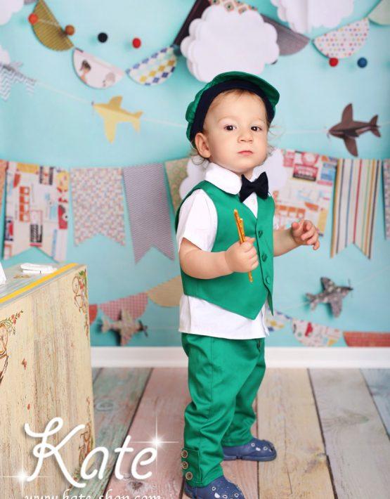 Костюм за момче в зелено