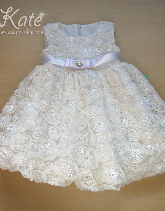 Детска рокля за кръщене 3Д бяло
