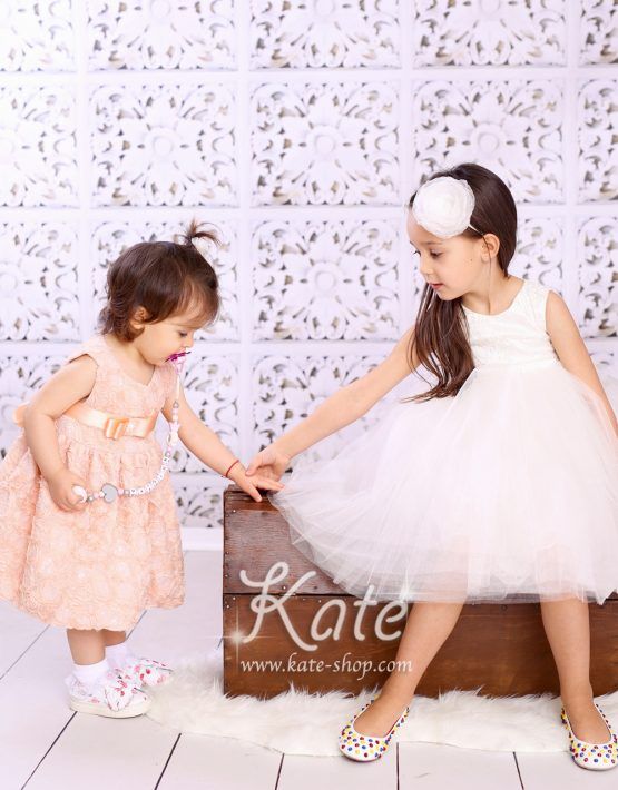 Детска рокля за кръщене 3Д праскова