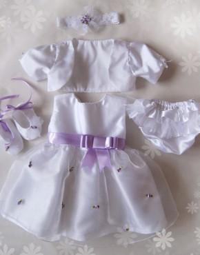 бебешки комплект за кръщене в лила