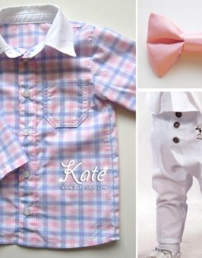 Комплект за момче в розово и бяло