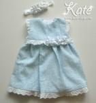 Светло синя бебешка рокличка и лента