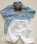 Комплект за момче с карирана риза.Костюм за кръщене