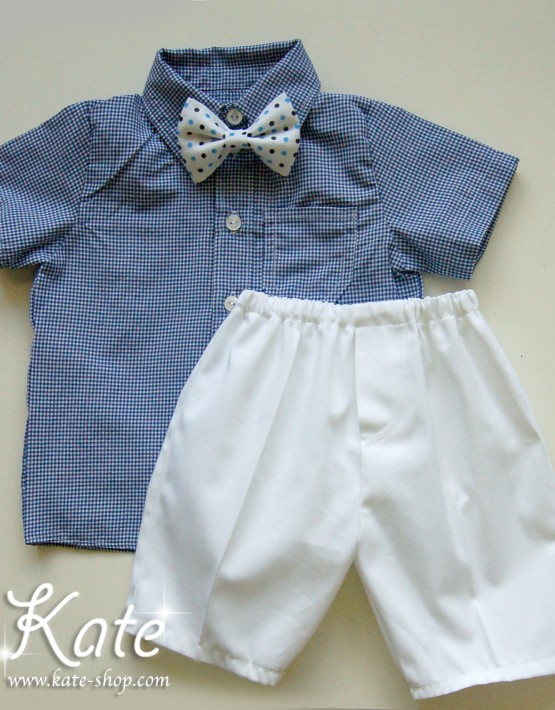 Комплект за момче със синя риза пепит.Костюм за кръщене