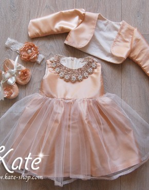 Комплект рокля със златна яка