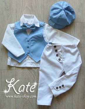 Костюм за кръщене светло синьо и бяло
