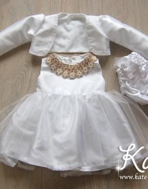 Комплект бяла рокля със златна яка
