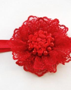Лента за глава с дантела и перли-червено