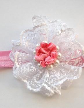 Лента за глава с дантела и перли-розово и бяло