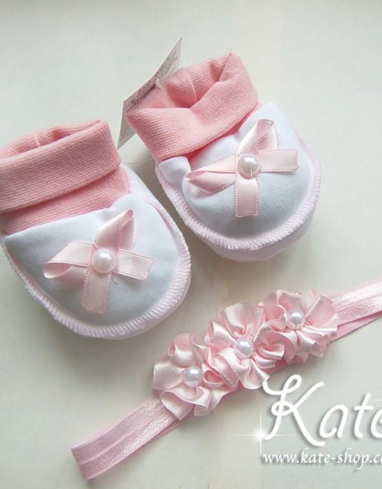 Бебешки терлички и лента с розички
