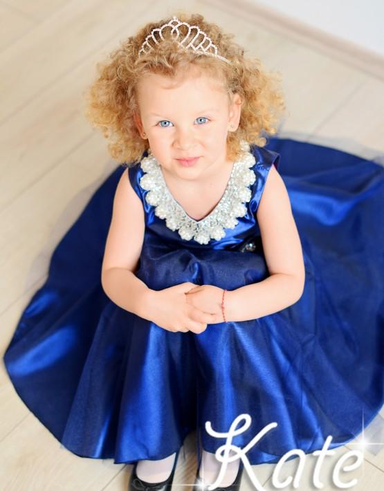 Тъмносиня детска официална рокля