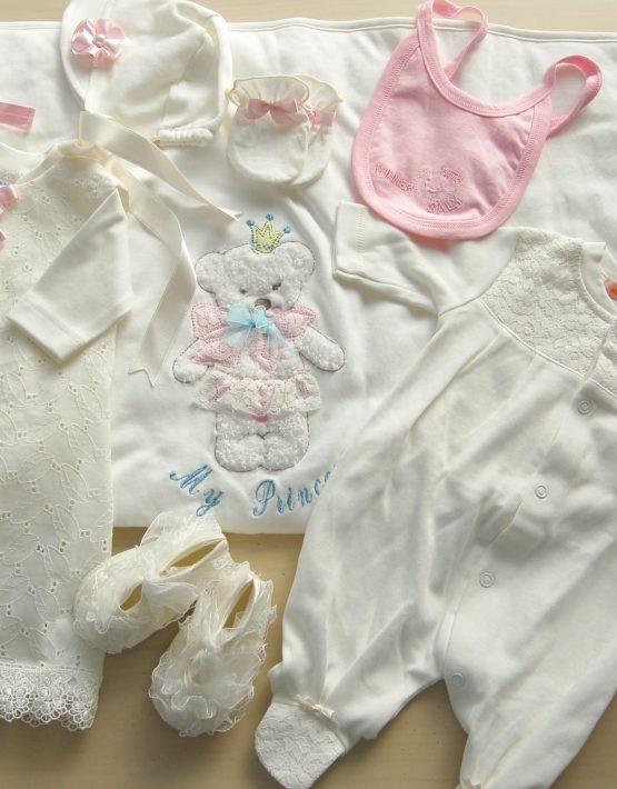 Комплект за изписване на бебе момиче-екрю