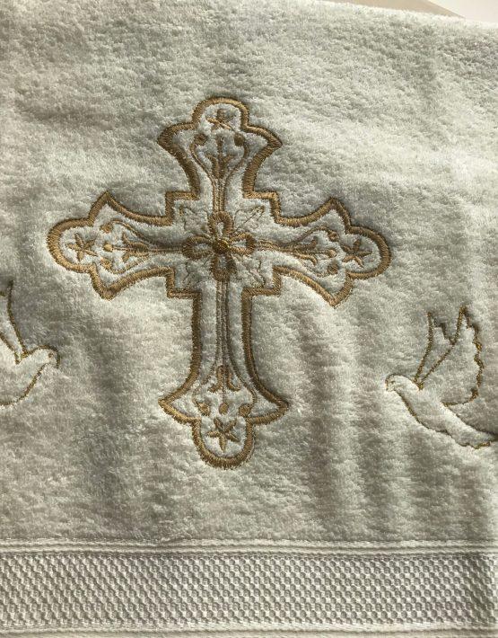 Хавлиена кърпа за кръщене с кръст