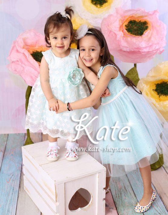Детска официална рокличка мента и екрю