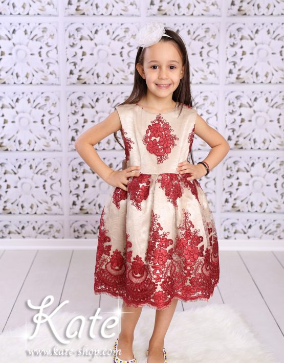 Детска официална рокличка златно и бордо