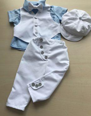 Бял комплект за кръщене с цветна риза