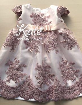 Бебешка дантелена рокля пепел