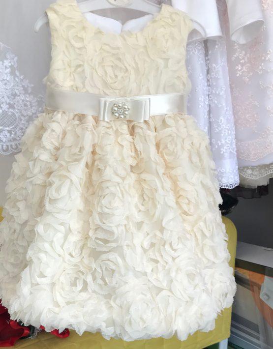 Детска рокля за кръщене 3Д екрю